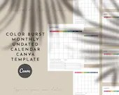 Color Burst Canva Planner Template - Fill in Monthly Calendar Planner - 12 Months - Undated Calendar Planner