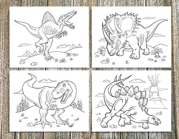 Tough Dinosaurs Coloring Page Set Downloadable Pdf File Etsy