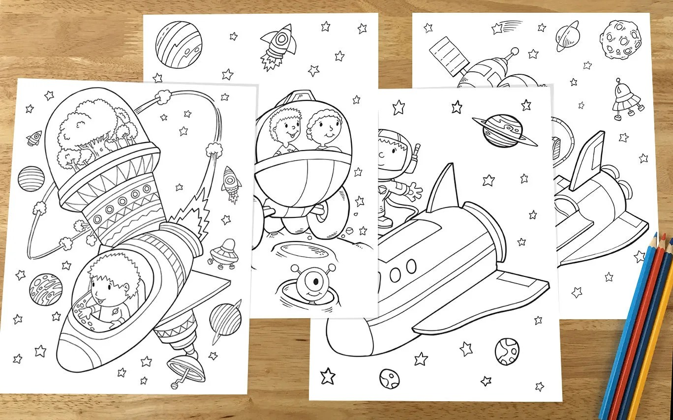Cute Outer Space Coloring Pages Downloadable File
