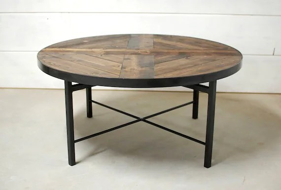 round industrial coffee table farmhouse table wood coffee table industrial table reclaimed wood table coffee table round table