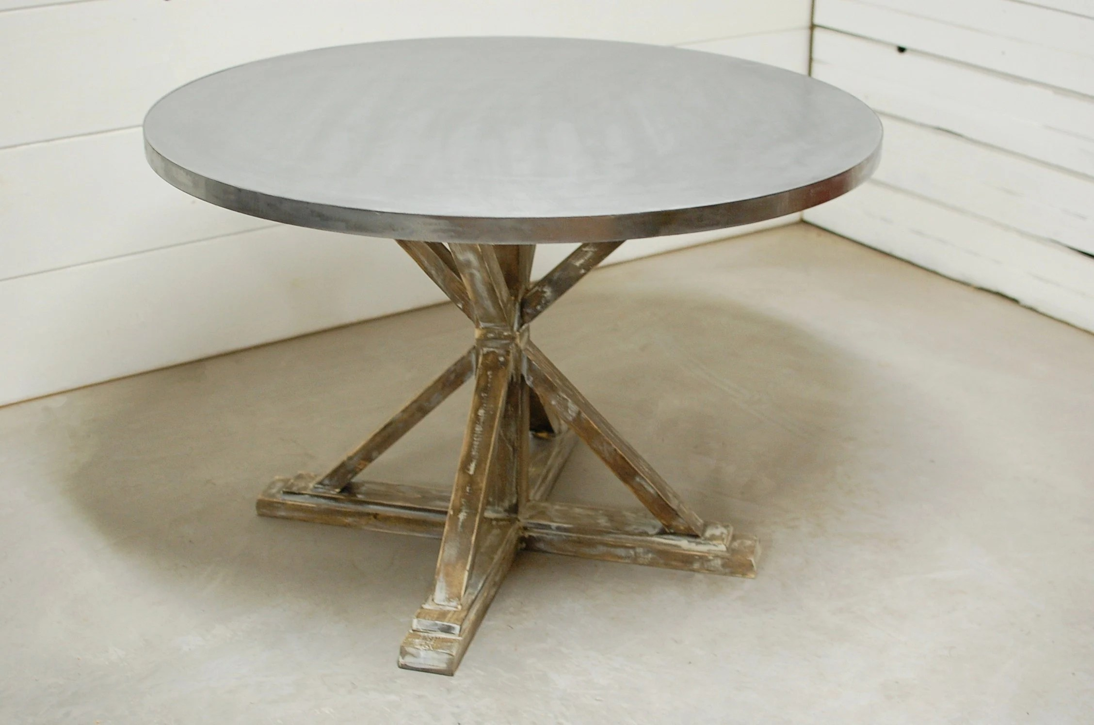 zinc kitchen table design images round dining industrial etsy image 0