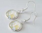 Yellow and White Geometric Drop Earring, dangle earring, earrings for women, colorful jewelry, minimalist earring, gift for her