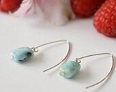 Raw Larimar Sterling Silver Hook Earrings, larimar drop earrings, semi-precious jewelry, gift for women, colorful jewelry, valentine's day
