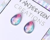 Watercolor Teardrop Stud Earrings, teardrop earring, colorful earring, minimalist jewelry, resin jewelry, gift for her, summer earrings
