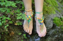 Crochet Barefoot Sandals Hippie Flower