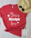 Heather Red Unisex Shirt Mock Up Bella Canvas Mock Up Shirt Etsy