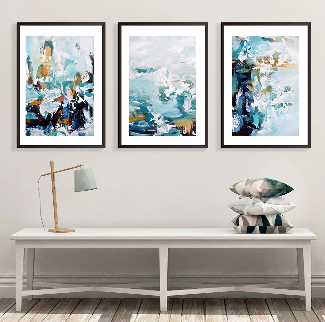 framed artwork for living room how to decorate small space art set etsy of 3 abstract print wall large blue from painting three