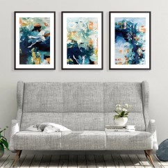 Framed Artwork For Living Room Decorating With Gray Walls Art Etsy Set Of 3 Prints Abstract Wall Large Blue Print From Painting