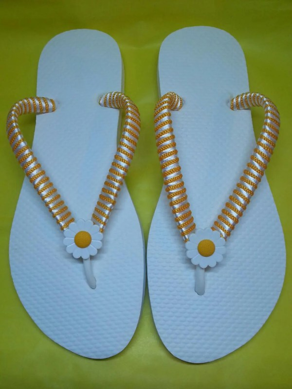 White And Yellow Flip Flops With Daisy Flower Button