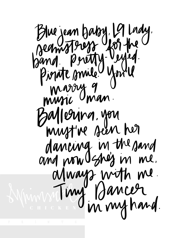 Tiny Dancer Elton John Lyrics Printable Digital Download