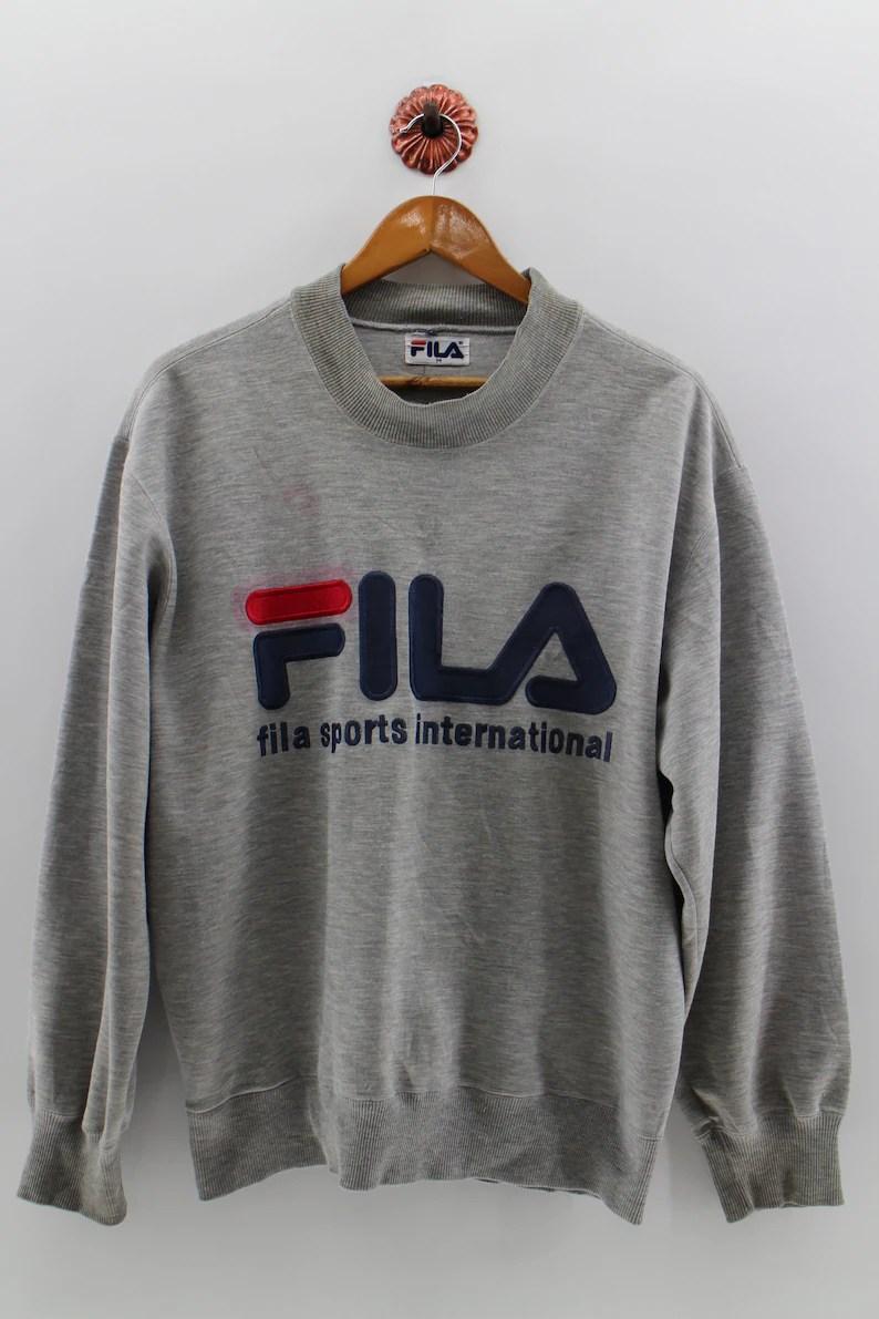 74d78b6d09a Fila Italia Sports International Pullover Jumper Unisex Large Fila Biella  Italia Spell Out Big Logo Fila Sweatshirt Sportswear Size M