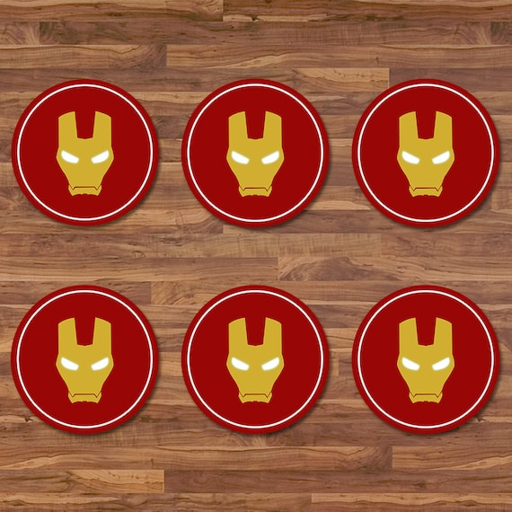 Iron Man Cupcake Toppers Iron Man Stickers Red & Gold Logo