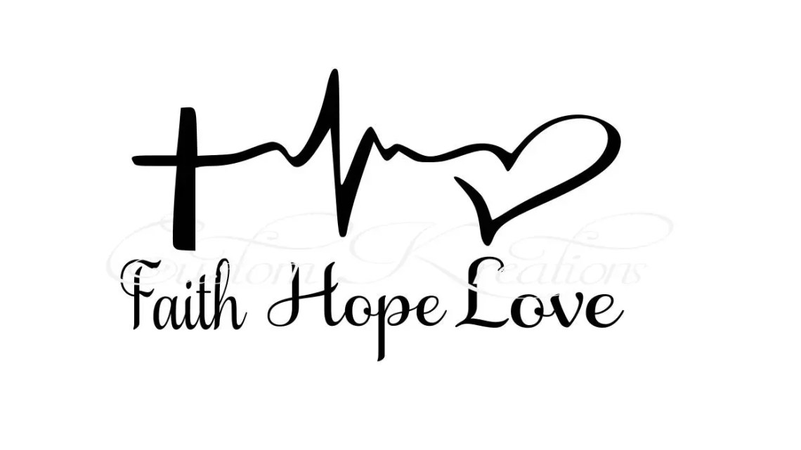 Download Faith_Hope_Love Cross Heart Beat SVG File | Etsy