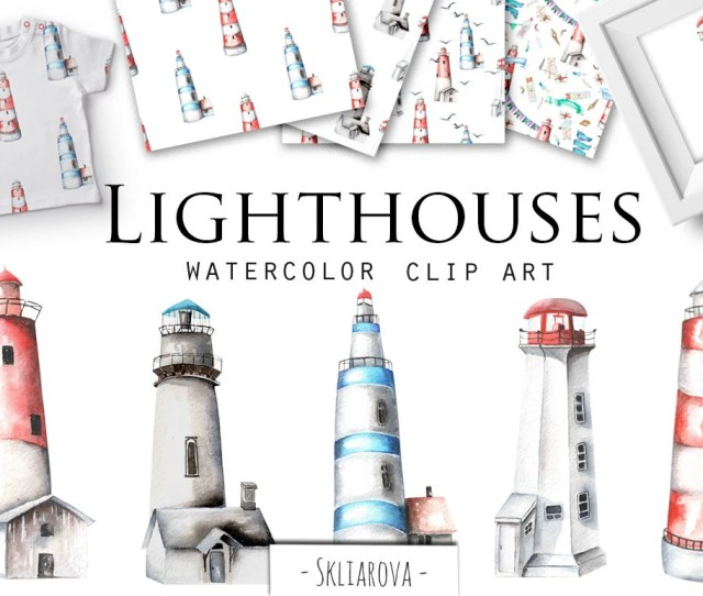 Watercolor Lighthouse Clip Art Watercolour Sea Gull Digital Art Seamark Hand Painted Lighthouse Seamless Pattern Clipart Architecture Png