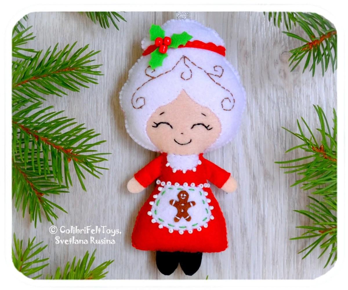 Mrs Claus Felt Christmas Ornaments Cute Christmas Tree Toy Etsy