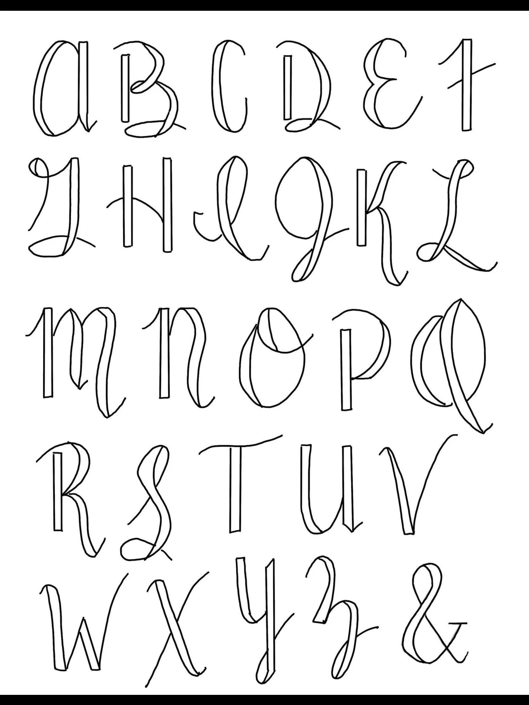 Cursive Calligraphy Alphabets : cursive, calligraphy, alphabets, LARGE, UPPERCASE, Calligraphy, Cursive, Brush, Lettering, Cross