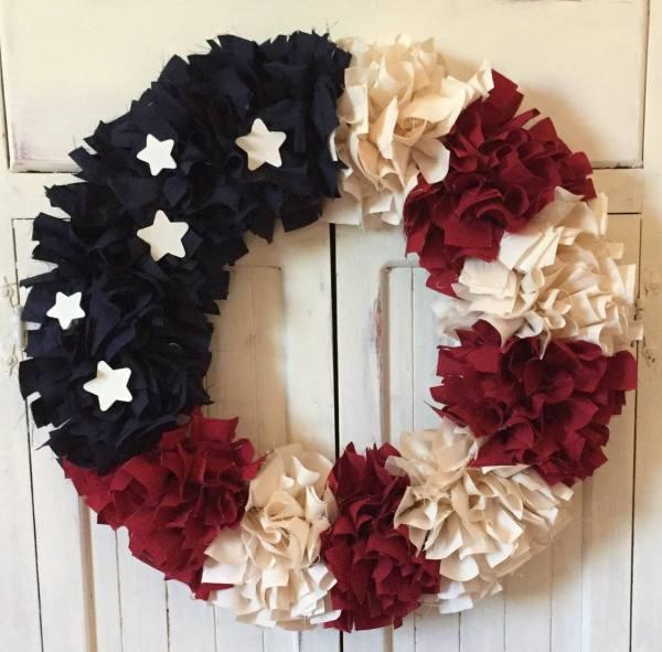 Patriotic Wreath Rag Fabric