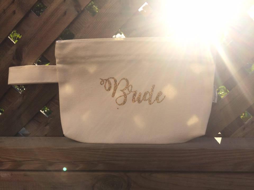 Medium Sized Personalized Cosmetic Bag    Name Wedding Role image 3