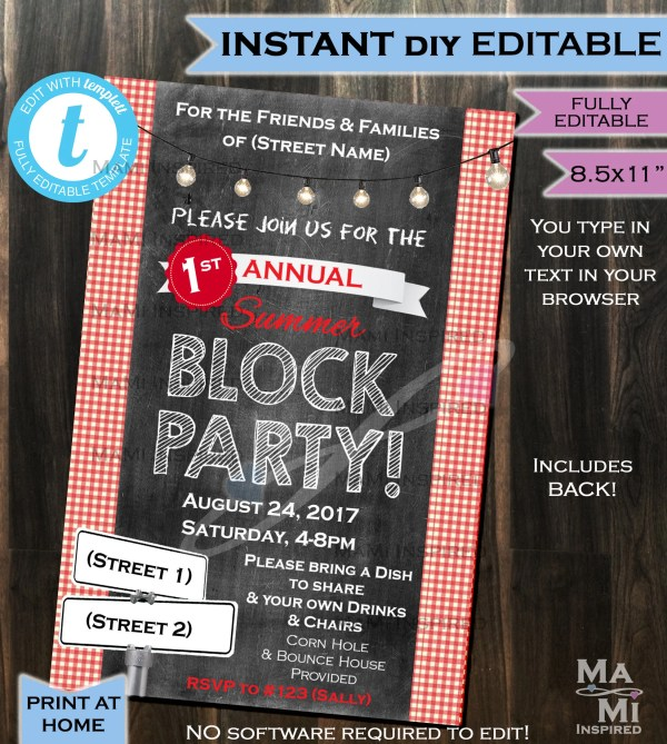 Block Party Invitation Flyer Street Neighborhood Invite
