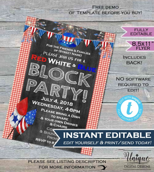 4th Of July Block Party Flyer Invitation Red