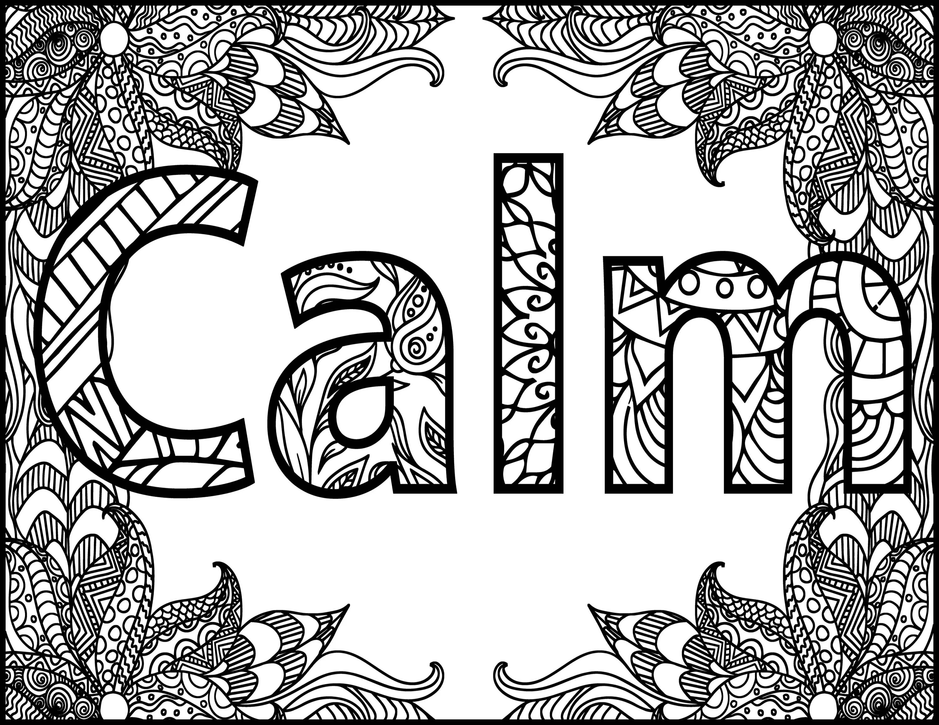 Positive Word Coloring Page Calm Positive Adult Coloring