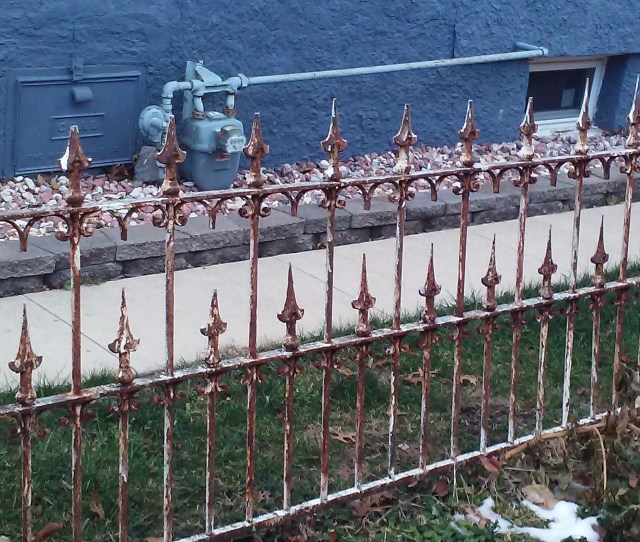Antique Speared Early Wrought Iron Fence