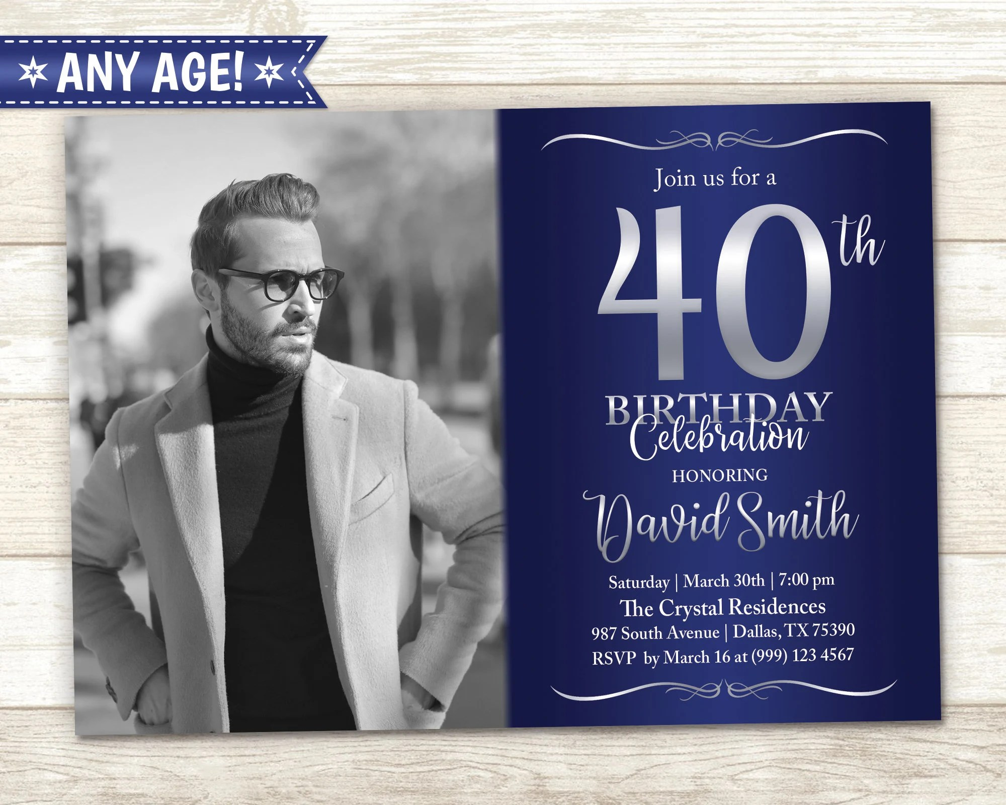 adult birthday invitation 40th birthday party 50th birthday invitation elegant birthday invitation blue silver white for any age