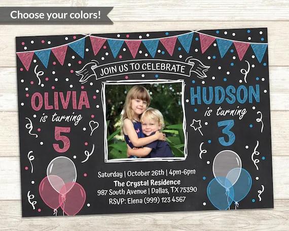 sibling birthday invitation double
