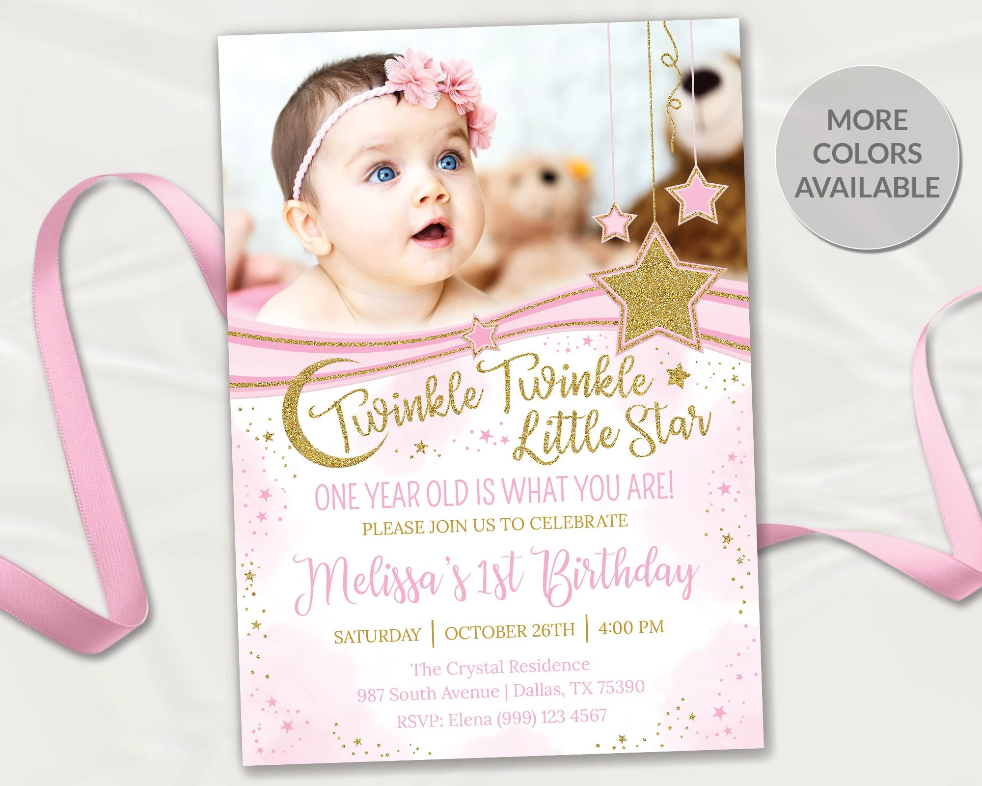twinkle twinkle little star first birthday invitatiion girl 1st birthday invitation pink and gold invite pink and gold stars invitation