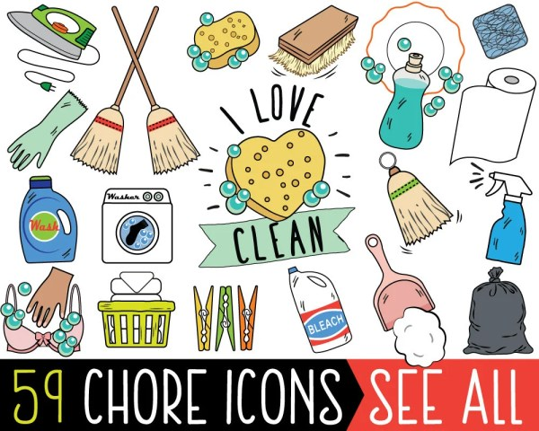 Chore Clipart JUMBO Bundle cleaning clipart printable