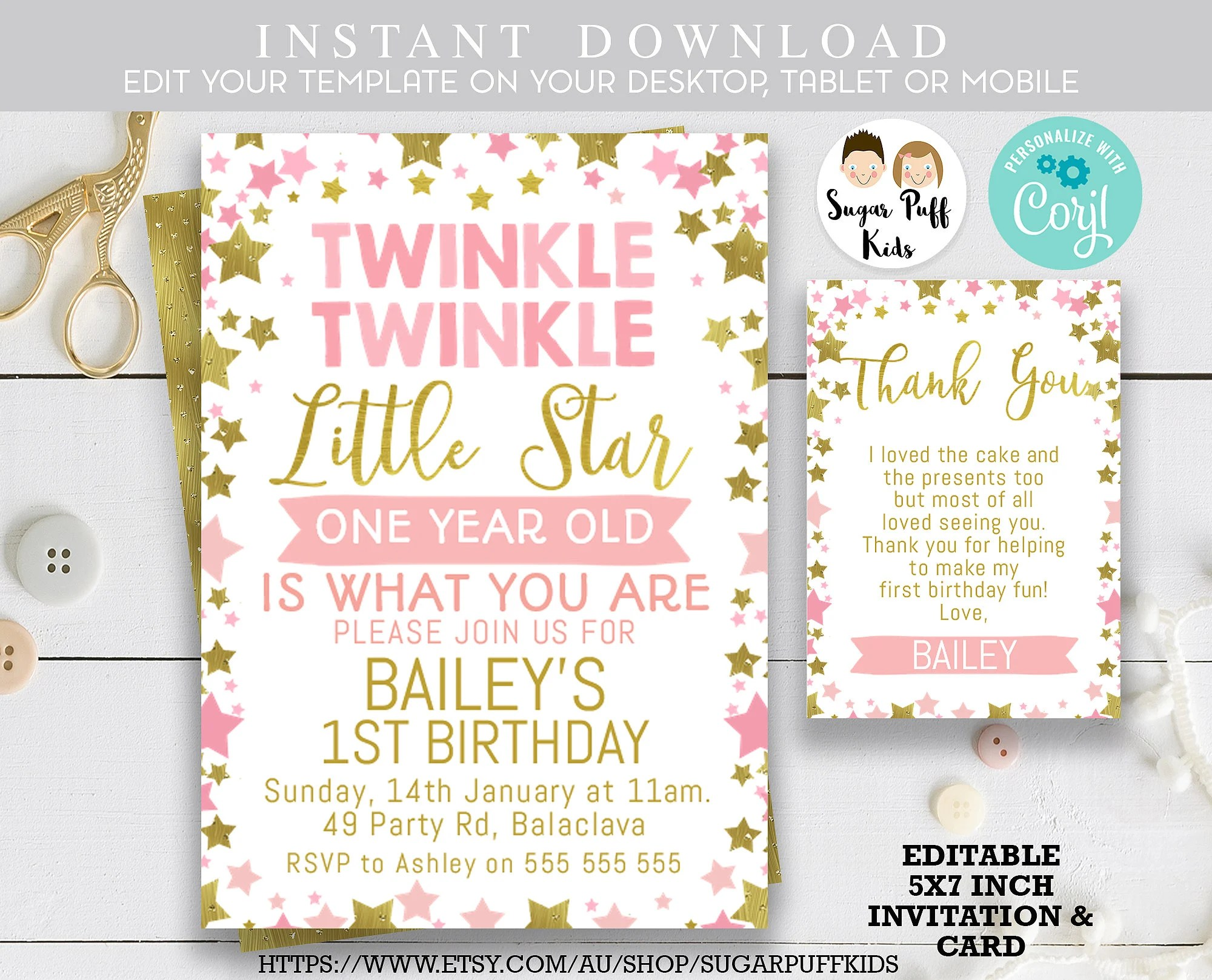 gold star 1st birthday invitation