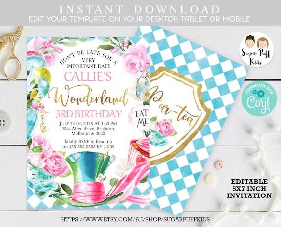 editable alice in wonderland invitation