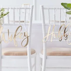 Chair Accessories For Weddings Deck Covers Australia Wedding Decor Etsy Signs Gold Hubby And Wifey Decorations Top Table Props