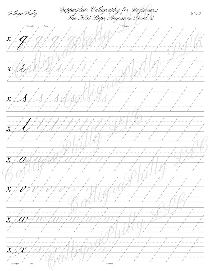 Beginner Level 2: Copperplate Lowercase Calligraphy