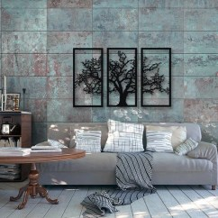 Metal Wall Art Decor For Living Room Brown Sofa Decorating Ideas Tree Of Life 3 Pieces Modern Rustic Etsy Image 0