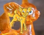 Vintage Pin Club - 1970s  Kitsch orange Bambi deer Enamel Pin Badge