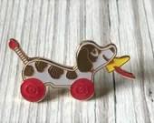 Vintage Pin Club - Pull Along Wooden Dog Toy Enamel Pin Badge