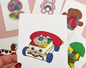 Vintage Retro Toy CHATTER PHONE Print Postcard Post Card