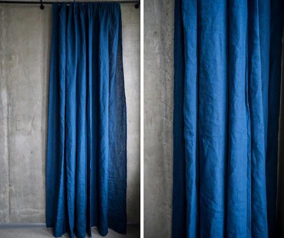 rideaux de lin bleu marine draperie de tissu bleu royal de lin panneau organique de fenetre