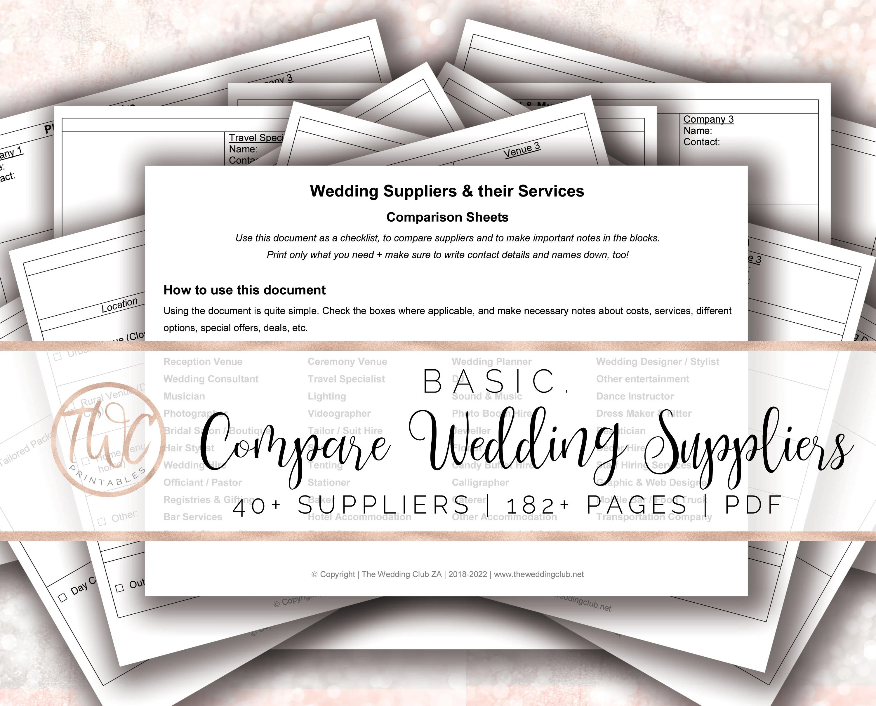 Compare Wedding Suppliers Worksheets Wedding Worksheets
