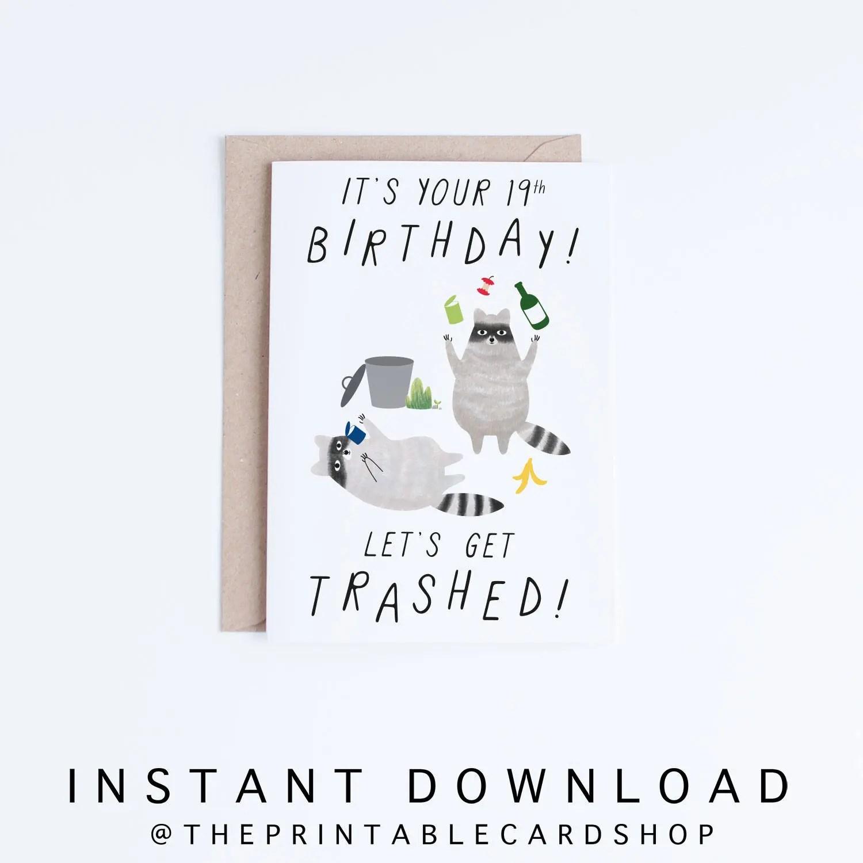 Printable 19th Birthday Cards Funny 19 Birthday Cards Instant Etsy