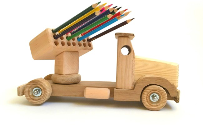 Wood Toy For Kids Pencil Holder Wooden Truck Learning Toy