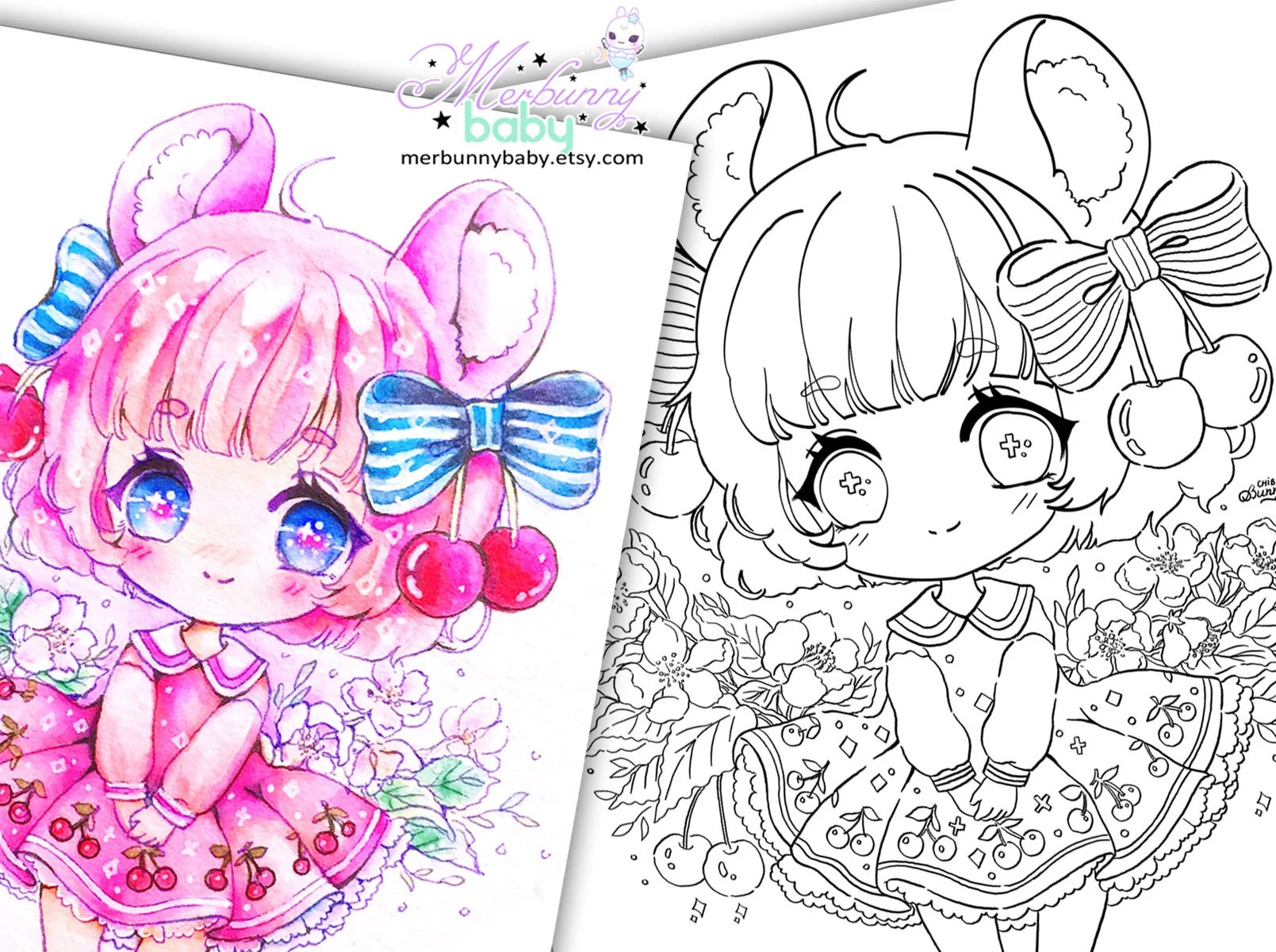 Cherry Mouse Chibi Girl Coloring Page Cute Anime Manga