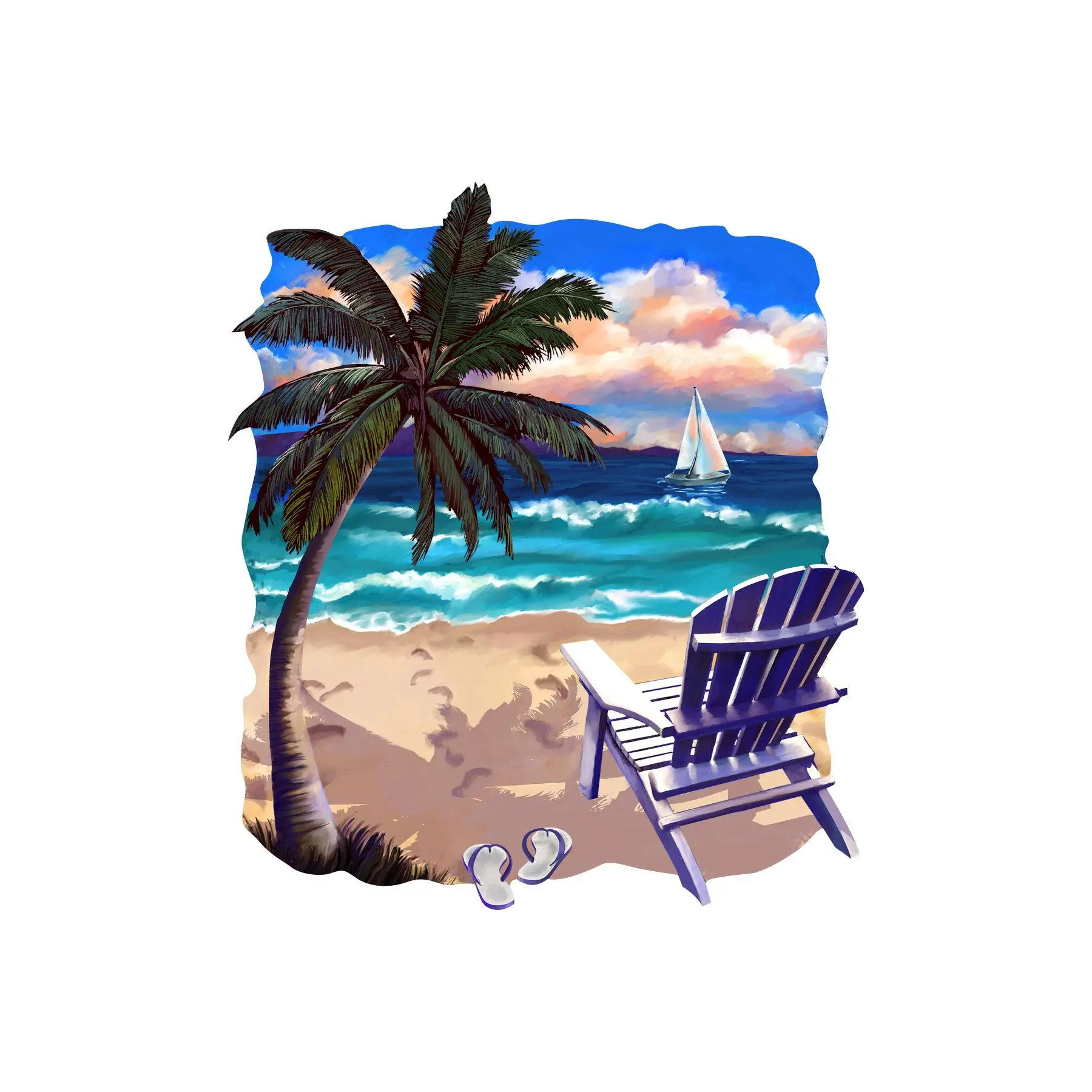 Where To Buy Beach Chairs Beach Chair And Palm Tree Decal Full Color Sticker Summer Decal Relaxation Sticker Fun In The Sun Decal