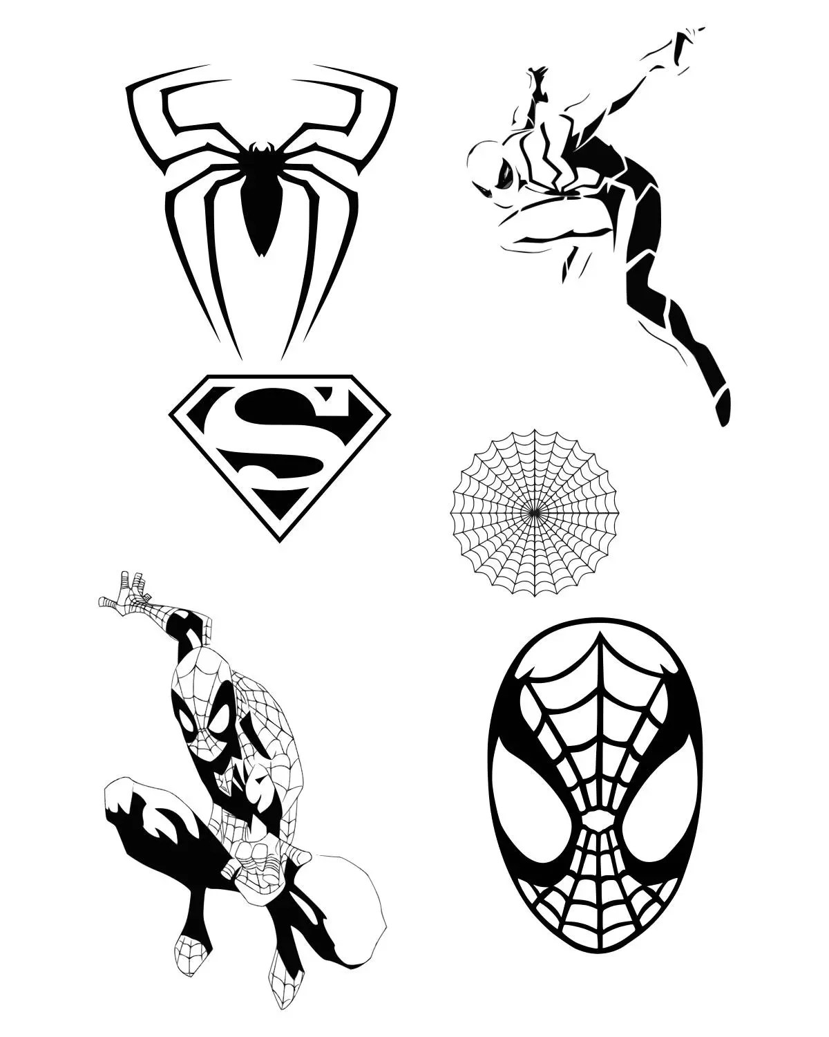 Spiderman Svg Clipart Silhouette Inspiree Par Spider Man