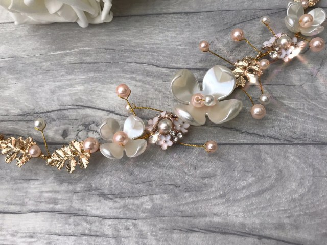handmade pearl crystal bridal hair piece / hair vine. wedding hair accessory. blush rose gold theme/ white and blush pink pearls. floral.