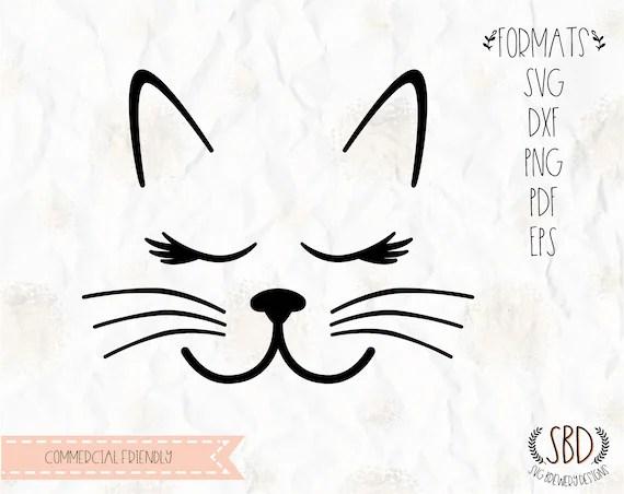 Visage de chat avec des moustaches cils cils SVG PNG EPS