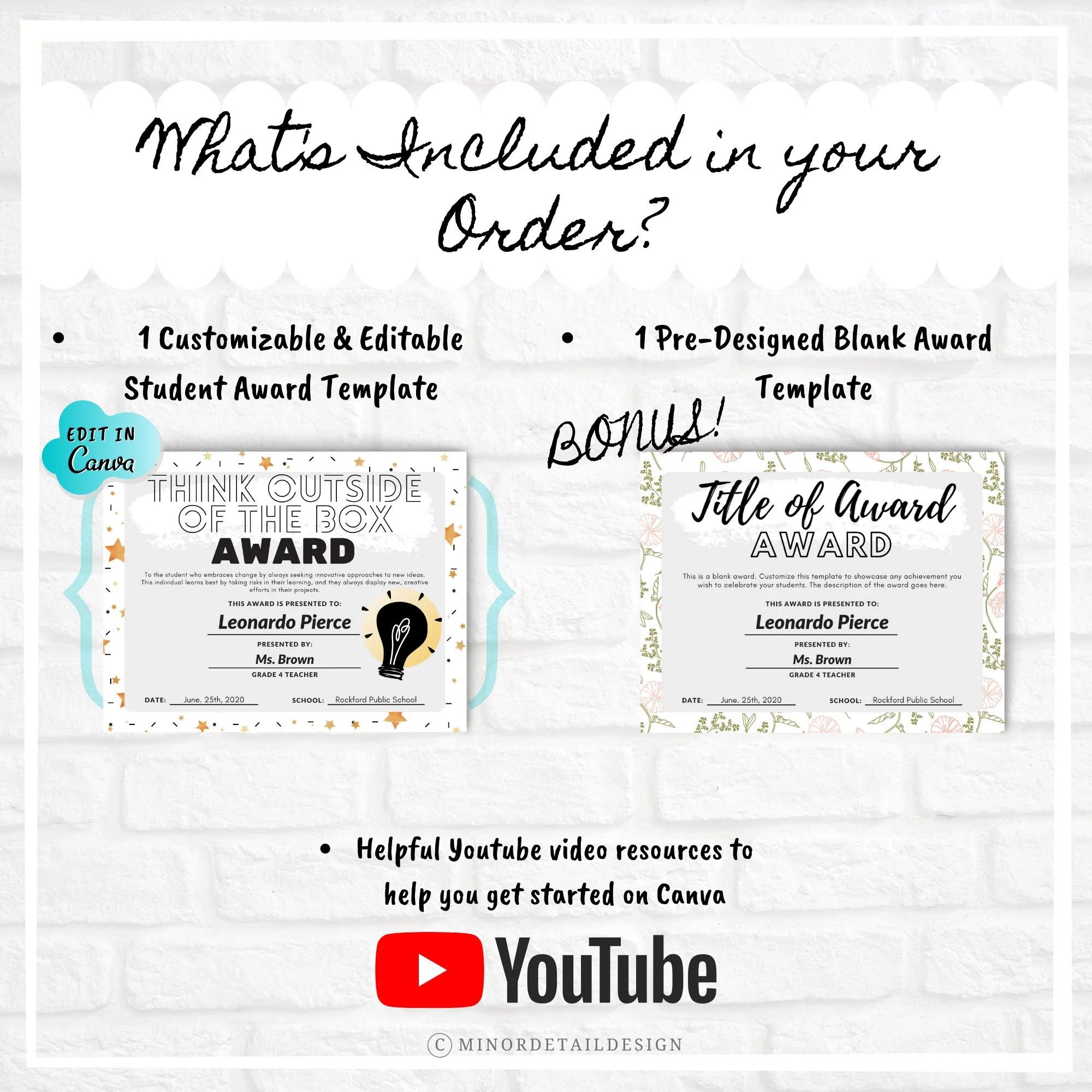 EDITABLE School Award School Award Template Student Award