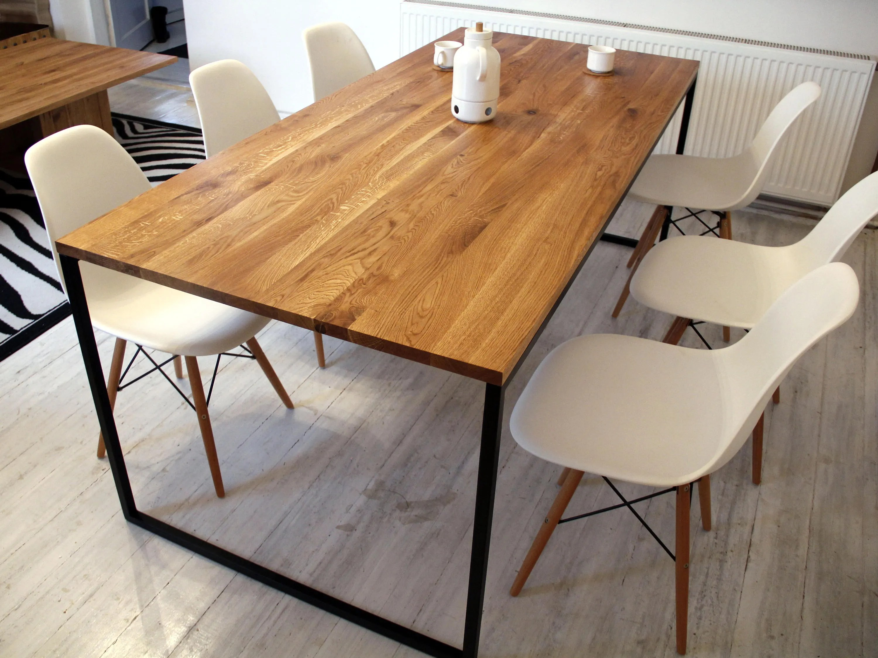 kitchen table top work station steel frame dining basic nio ii modern industrial etsy image 0