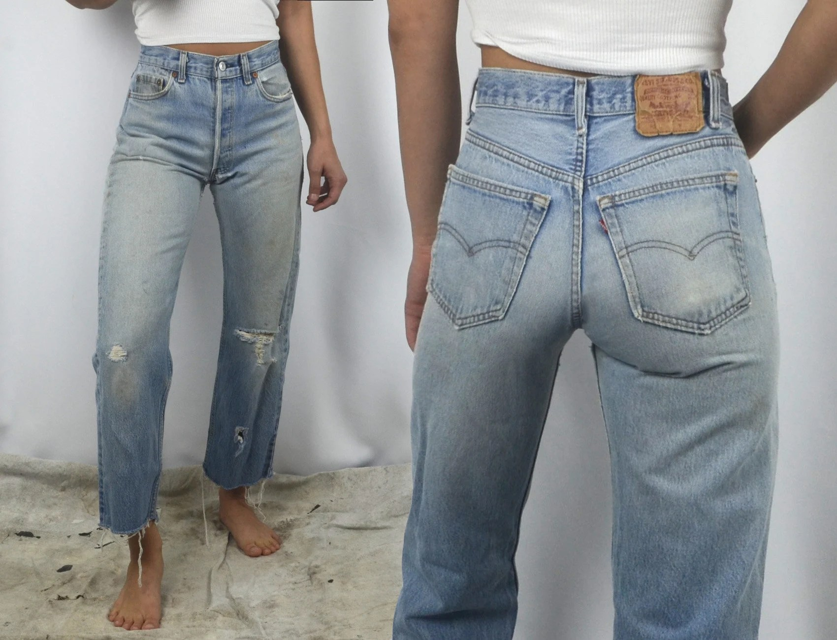 Vintage levi   jeans women high waisted perfect faded light wash denim size waist also levis etsy rh